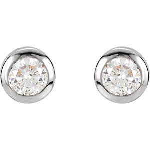 Simulated April Birthstone CZ Solitaire Stud Earrings, Rhodium-Plated Sterling Silver