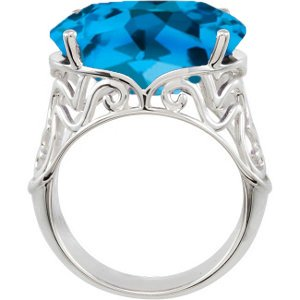 Swiss Blue Topaz Ring, Sterling Silver Filigree (18.4 Cttw), Size 10