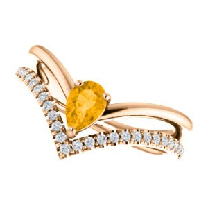 Citrine Pear and Diamond Chevron 14k Rose Gold Ring (.145 Ctw, G-H Color, I1 Clarity)