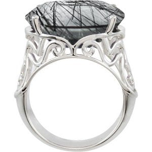 Tourmalinated Black Quartz Sterling Silver Filigree Ring, Size 10