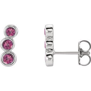 Pink Tourmaline Three-Stone Ear Climbers, Sterling Silver