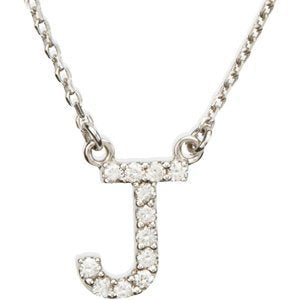 "14k White Gold Diamond Alphabet LetterJ Necklace (1/8 Cttw, GH Color, I1 Clarity), 16.25"" to 18.50"""