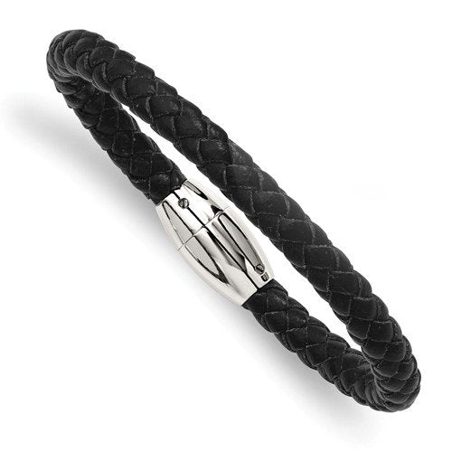 Men's Stainless Steel 6mm Black Leather Bracelet, 8.5""