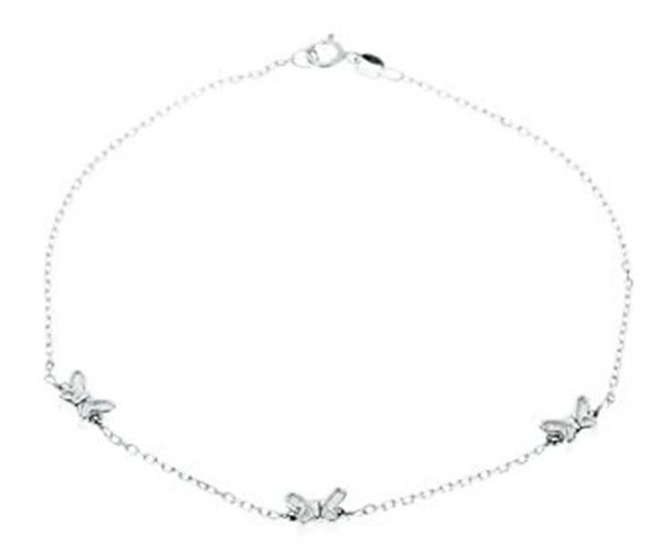 Sterling Silver Butterfly Anklet,10''