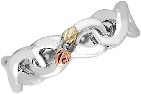 Infinity Vine and Leaf Band, Sterling Silver, 12k Gold Pink and Green Gold Black Hills Gold Motif, Size 6.5