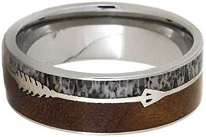 Silver Arrow, Ironwood Burl Wood, Deer Antler 8mm Comfort-Fit Titanium Wedding Band, Size 12