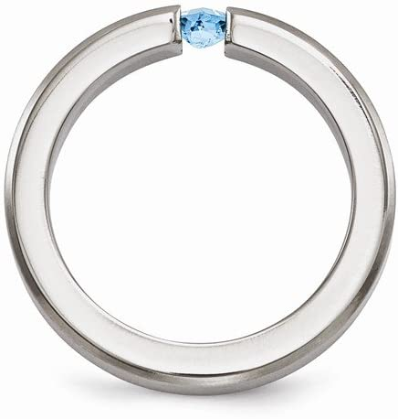 Edward Mirell Brushed Titanium Blue Topaz 4mm Wedding Band, Size 10