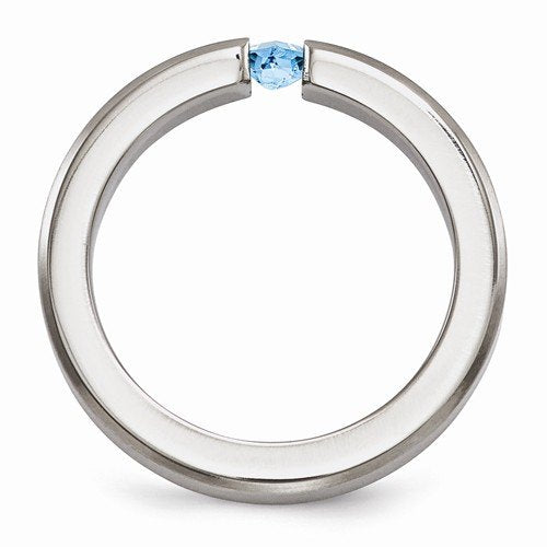 Radiance Collection Brushed Titanium Princess Swiss Blue Topaz 4mm Band, Size 5