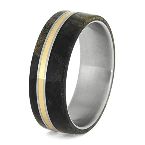 The Men's Jewelry Store (Unisex Jewelry) Buckeye Burl Wood, Bronze 8mm Matte Titanium Comfort-Fit Wedding Band
