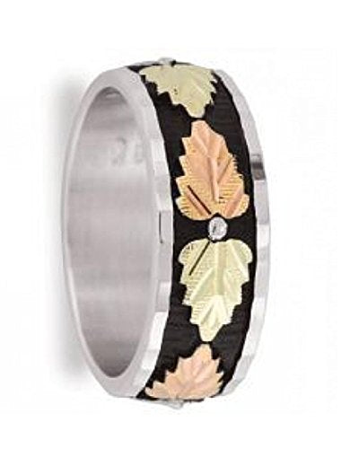 Women's Antiqued Wedding Band, Sterling Silver, 12k Green and Rose Gold Black Hills Gold Motif