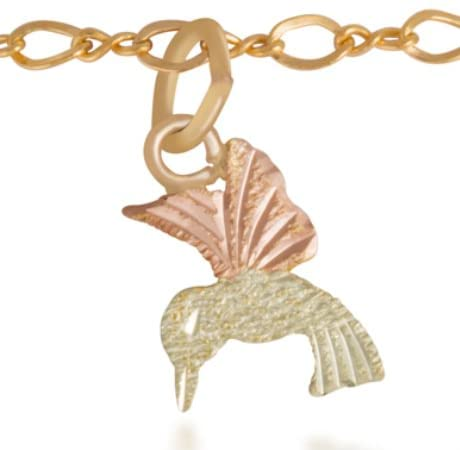 Hummingbird Ankle Bracelet, 10k Yellow Gold, 12k Green and Rose Gold Black Hills Gold