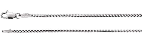 1.5mm 14k White Gold Hollow Popcorn Chain, 16""