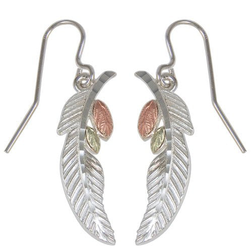Feather and Leaf Earrings Sterling Silver, 12k Green and Rose Gold Black Hills Gold Motif