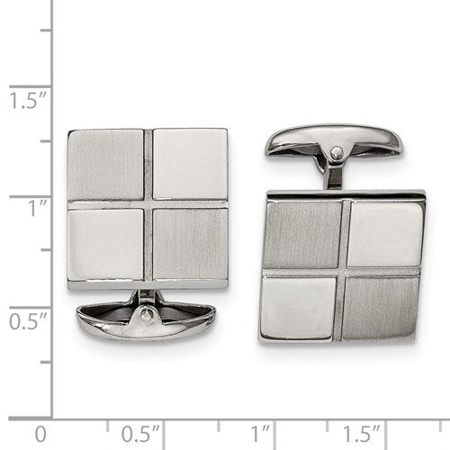 Stainless Steel Satin-Brushed Square Cuff Links