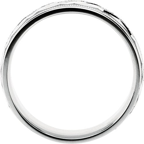 Diamond-Cut Ice Finish Milgrain 7mm 10k White Gold Comfort Fit Patterned Band, Size 11