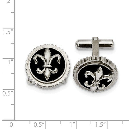 Grey Titanium with Black Enamel Fleur De Lis Round Cuff Links,19MM