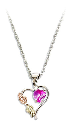 Pink CZ October Birthstone Heart Pendant Necklace, Sterling Silver, 12k Green and Rose Gold Black Hills Gold Motif, 18""
