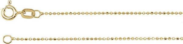 1mm 14k Yellow Gold Solid Diamond-Cut Bead Chain, 18""