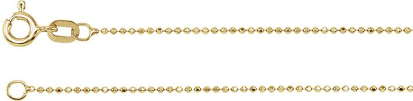 1mm 14k Yellow Gold Solid Diamond-Cut Bead Chain Bracelet, 7""