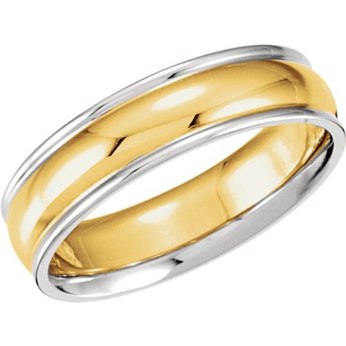 6mm 14k Yellow and White Gold Two-Tone Comfort-Fit Band, Size 8.5
