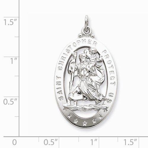 Sterling Silver Saint Christopher Medal Charm Pendant (36X20 MM)