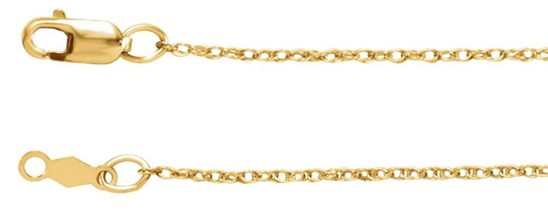 1mm 14k Yellow Gold Rope Chain, 16""