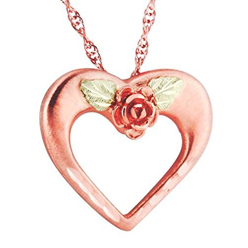 Diamond-Cut Heart with Rose Pendant Necklace, 10k Yellow Gold, 12k Green and Rose Gold Black Hills Gold Motif, 18""