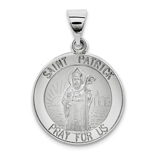Rhodium-Plated 14k White Gold St. Patrick Medal Pendant (22X19MM)