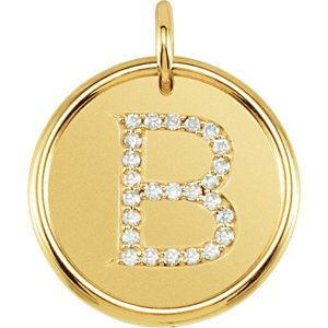 "Diamond Initial ""B"" Pendant, 14k Yellow Gold (0.125 Ctw, Color GH, Clarity I1)"