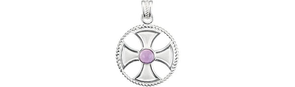 Genuine Amethyst Maltese Rope Sterling Silver Cross Pendant