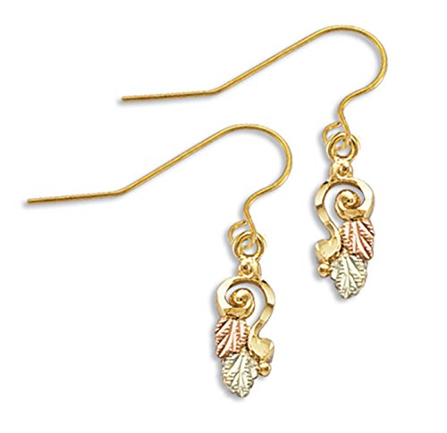 Diamond-Cut Spiral Earrings, 10k Yellow Gold, 12k Green and Rose Gold Black Hills Gold Motif