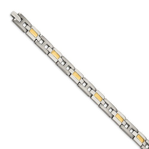Men's Two-Tone Titanium and Yellow IP 9mm Link Bracelet, 9""