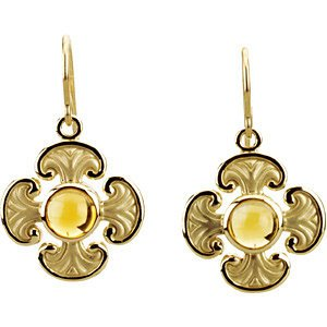 14k White Gold Citrine Maltese Cross Earrings