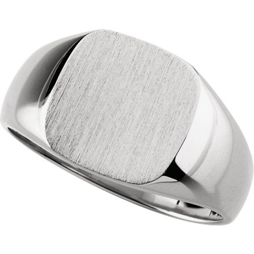 Men's Closed Back Square Signet Ring, 14k X1 White Gold (14mm) Size 9