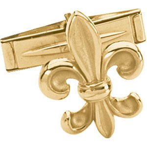 14k Yellow Gold Fleur de Lis Cuff Link, Single