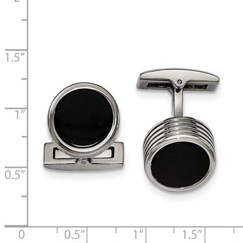 Stainless Steel Black IP- Plated Black Grooved Round Cuff Links