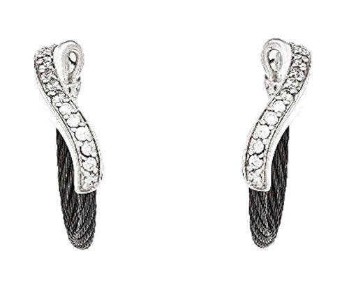 Tango Collection Black Ti Memory Cable, Argentium Silver, White Sapphire Hoop Earrings