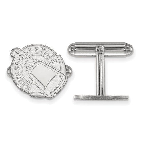 Rhodium-Plated Sterling Silver Mississippi State University Cuff Links, 16X15MM