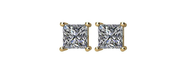 Diamond Stud Princess-Cut Earrings, 14k Yellow Gold (.25 Cttw, Color GH, Clarity I1)