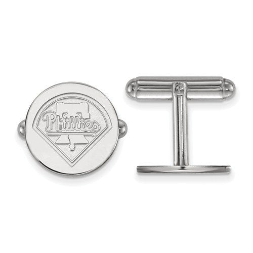 Rhodium-Plated Sterling Silver MLB Philadelphia Phillies Round Cuff Links, 15MM