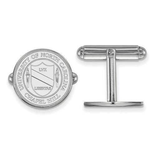 Rhodium-Plated Sterling Silver, University Of North Carolina Crest Cuff Links, 15MM