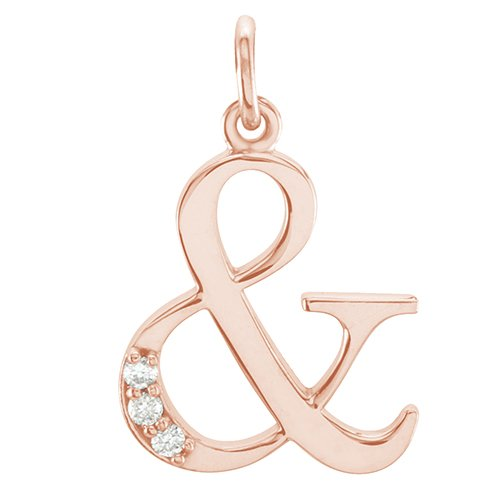 "Diamond ""&"" Ampersand Symbol 14k Rose Gold Pendant (.02 Cttw GH Color, I3 Clarity)"