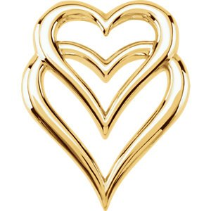Double Heart Pendant Slide, 18k Yellow Gold