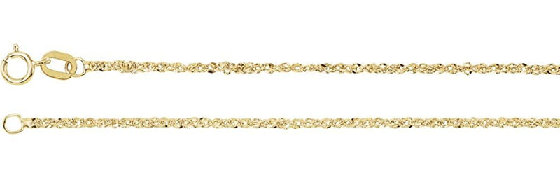 1.25mm 14k Yellow Gold Sparkle Singapore Chain, 18""