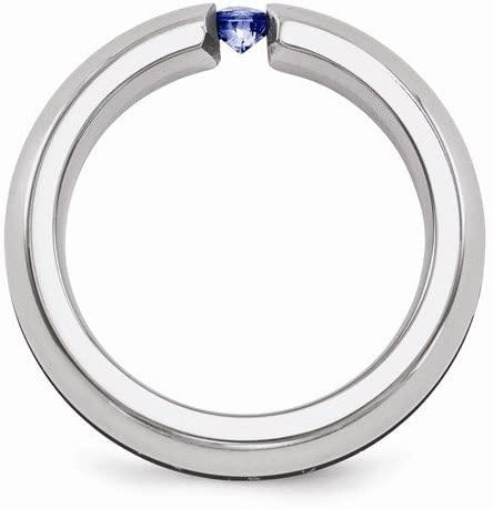 Edward Mirell Titanium Blue Sapphire and Grooved Anodized 6mm Wedding Band, Size 8.5
