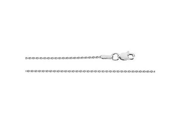 1mm Rhodium-Plated 14k White Gold Diamond Cut Wheat Chain, 16""