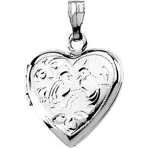 Petite Sterling Silver Heart Locket with Two Love Birds