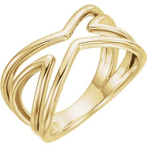 Criss Cross Ring, 14k Yellow Gold