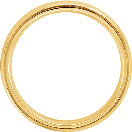 14k Yellow Gold Hammer Finished 6mm Comfort Fit Dome Band, Size5