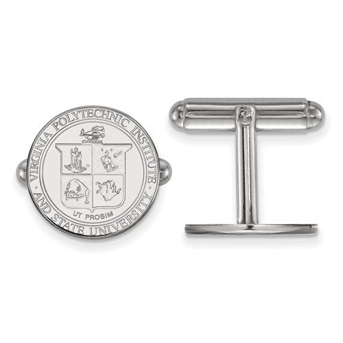 Rhodium-Plated Sterling Silver Virginia Tech Crest Round Cuff Links,15MM